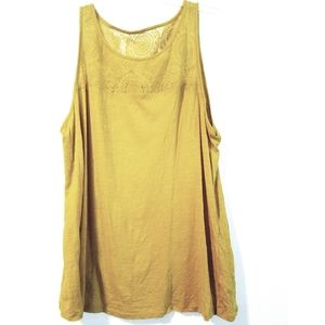 18/20 Lane Bryant Chartreuse Lace Yoke Tank Top